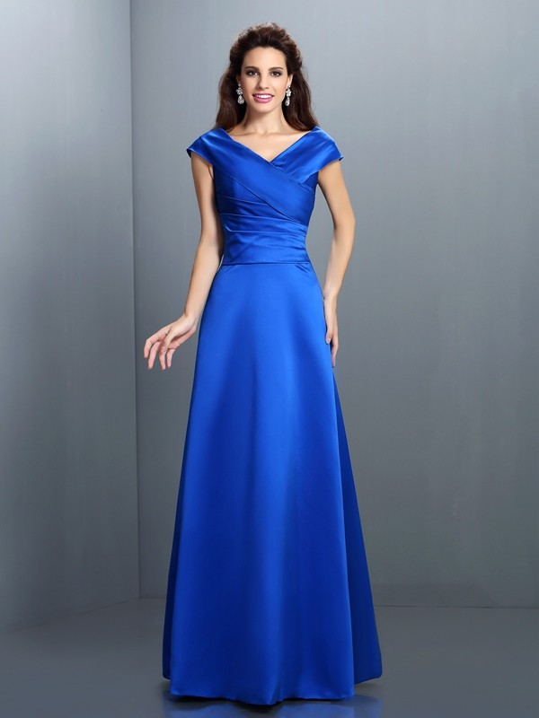 Royal Blue V-neck Satin Floor-Length Prom Dresses