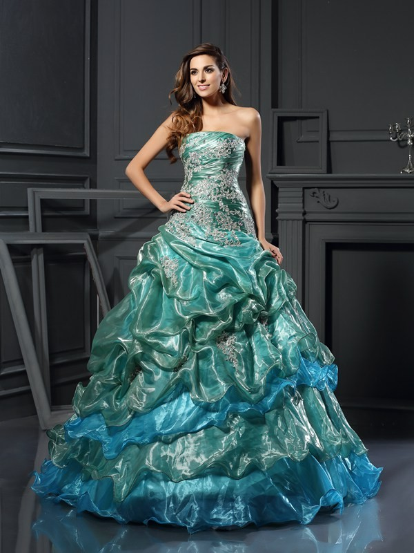 Dark Green Sweetheart Tulle Floor-Length Prom Dresses