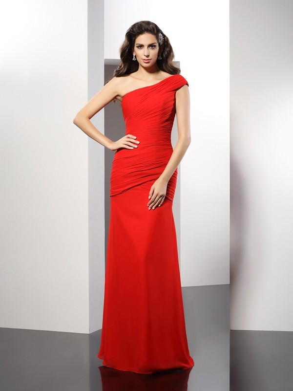 Red One-Shoulder Chiffon Floor-Length Prom Dresses