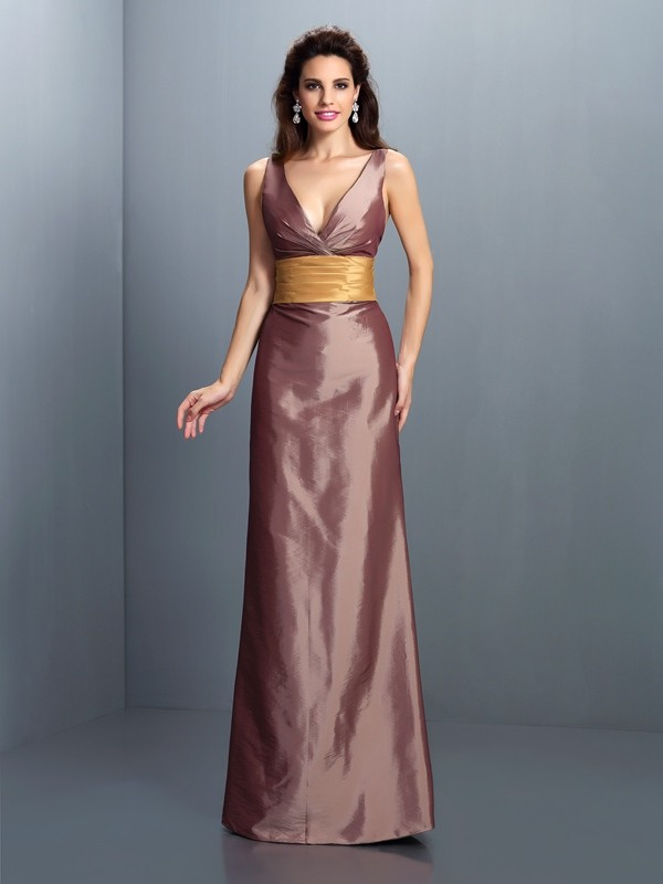 Sheath Taffeta V-neck Floor-Length Brown Prom Dresses