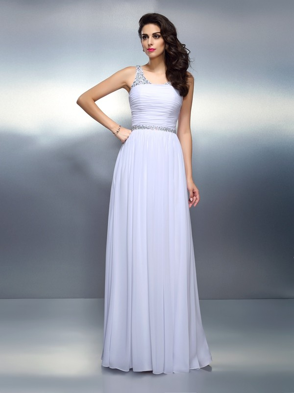 White A-Line Scoop Floor-Length Prom Dresses with Beading