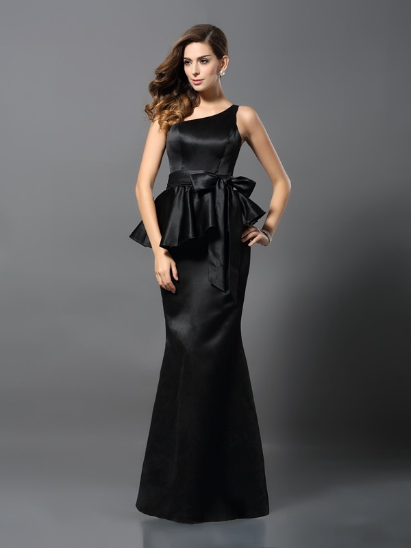 Satin Mermaid Floor-Length One-Shoulder Black Prom Dresses