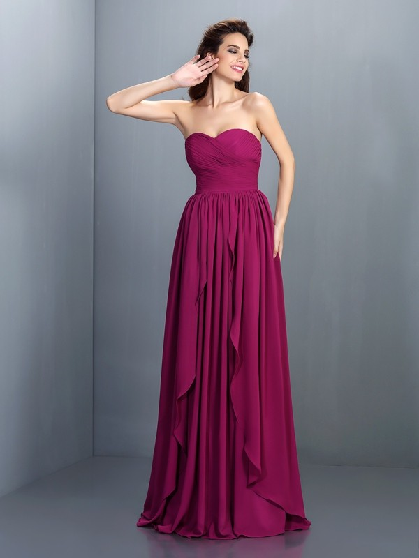 Sweetheart Floor-Length Regency Prom Dresses with Pleats