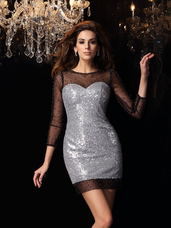 Sheath 3/4 Sleeves Scoop Short/Mini Silver Homecoming Dresses