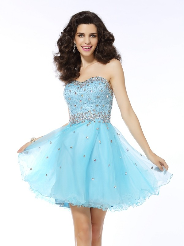 A-Line Organza Sweetheart Short/Mini Blue Homecoming Dresses