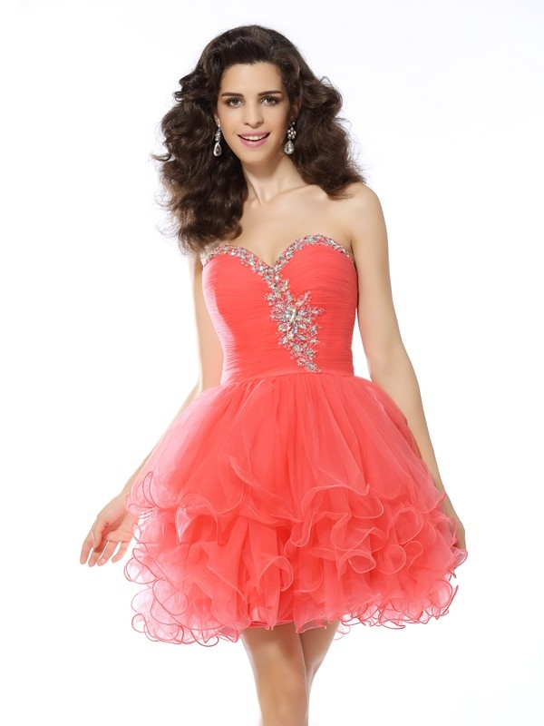 Satin Sweetheart Short/Mini Watermelon Homecoming Dresses