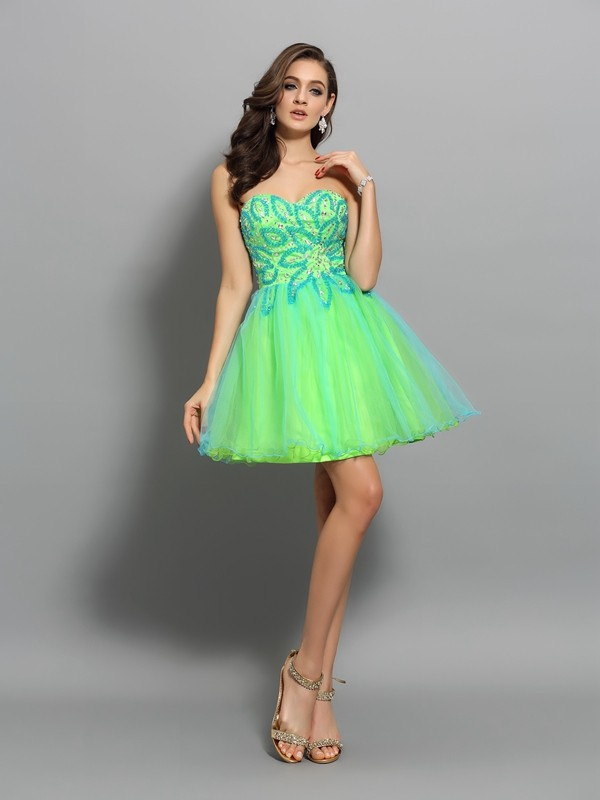A-Line Sweetheart Short/Mini Green Homecoming Dresses