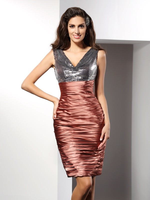 Brown V-neck Silk like Satin Knee-Length Homecoming Dresses