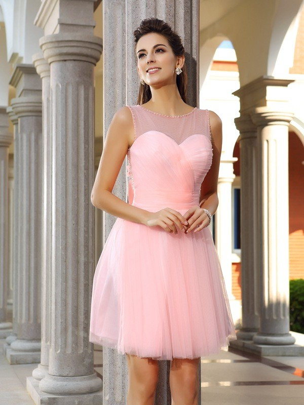 A-Line Scoop Short/Mini Pink Homecoming Dresses with Beading