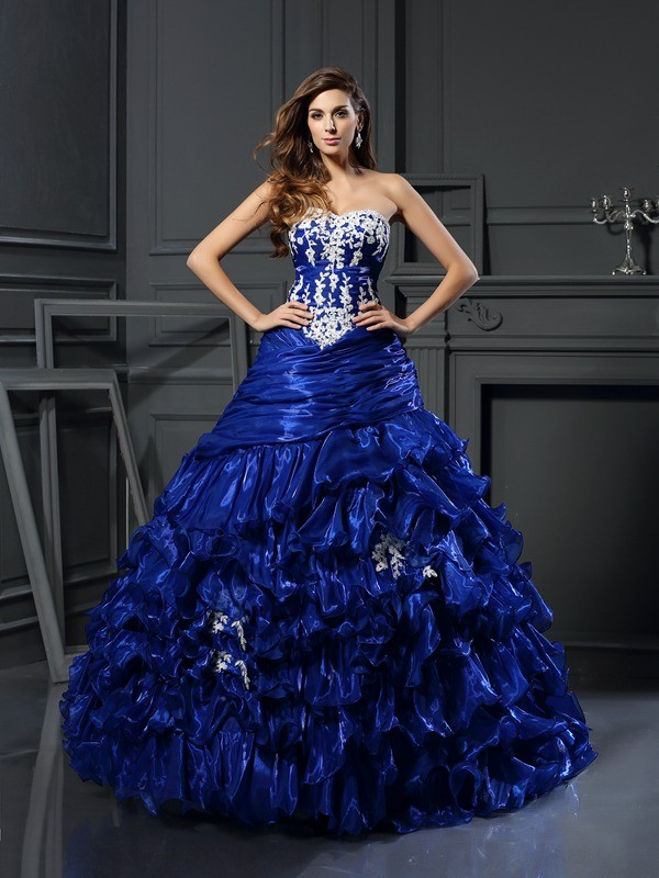 Ball Gown Sweetheart Floor-Length Royal Blue Prom Dresses with Beading