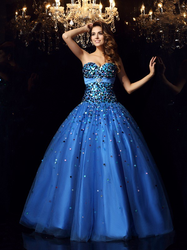 Satin Sweetheart Floor-Length Royal Blue Prom Dresses