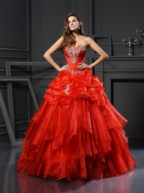 Tulle Ball Gown Floor-Length Sweetheart Red Prom Dresses