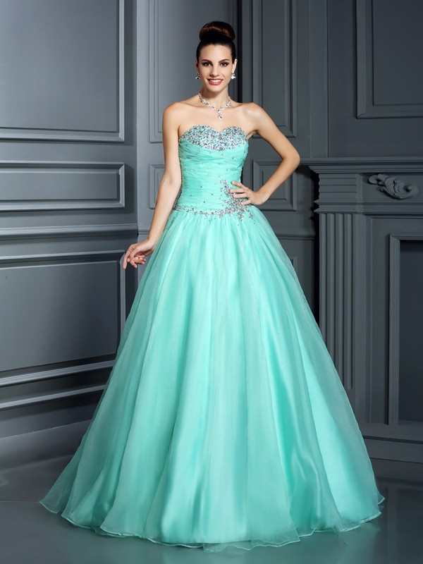 Sweetheart Floor-Length Sage Prom Dresses with Beading
