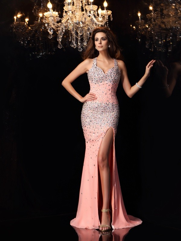 Chiffon Straps Brush Train Pink Prom Dresses