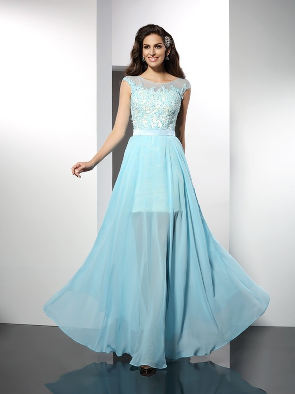 Floor-Length Light Sky Blue Bateau Prom Dresses with Applique