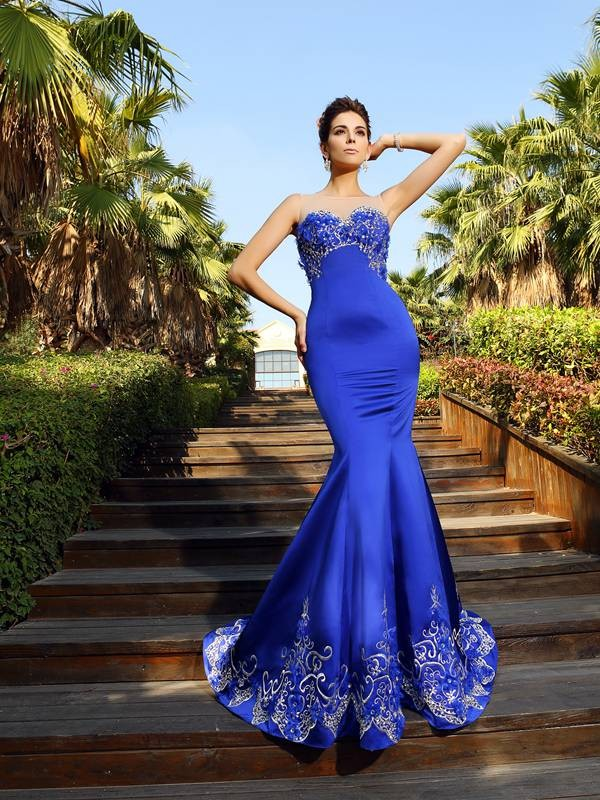 Mermaid Sweetheart Court Train Royal Blue Prom Dresses with Beading