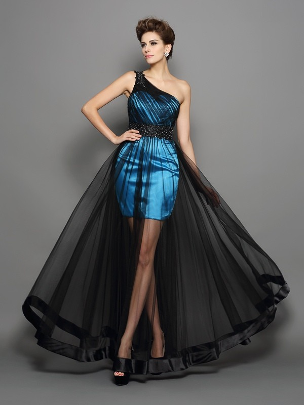 One-Shoulder Floor-Length Black Prom Dresses with Ruched