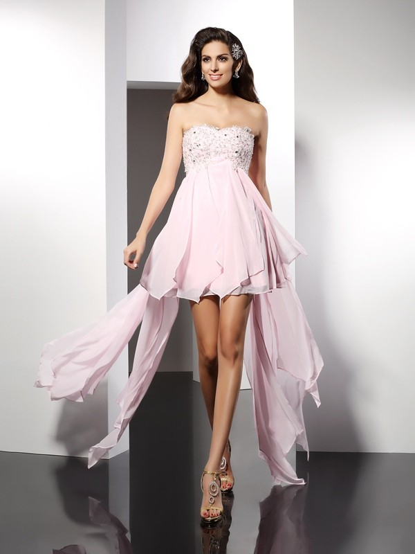 A-Line Chiffon Sweetheart Asymmetrical Pink Homecoming Dresses