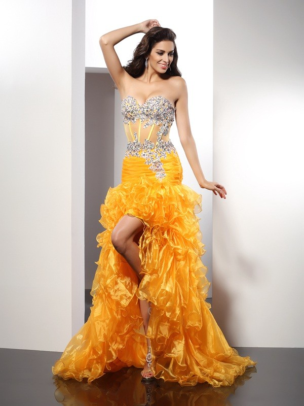 Sheath Sweetheart Asymmetrical Yellow Prom Dresses with Beading