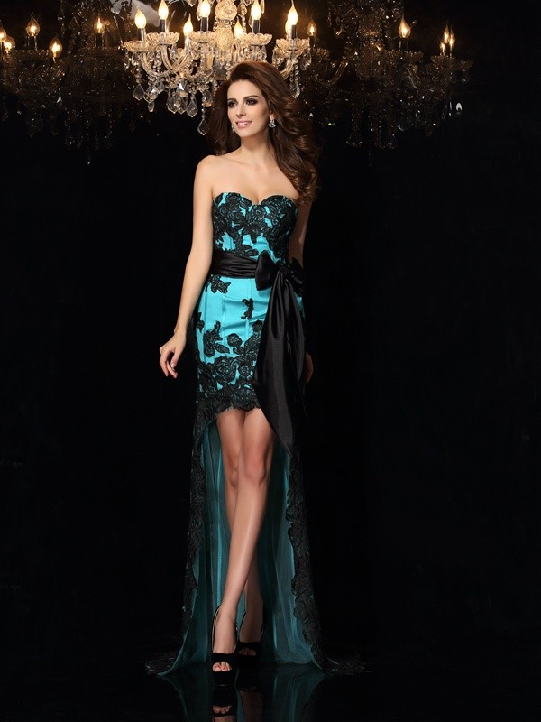 Satin Sweetheart Asymmetrical Blue Prom Dresses