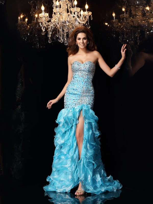 Asymmetrical Blue Sweetheart Prom Dresses with Beading