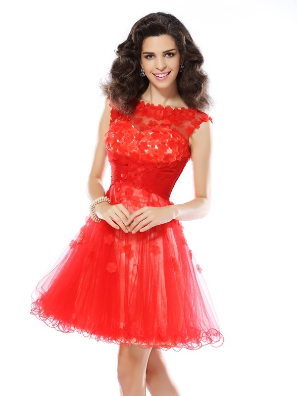 Elastic Woven Satin Short/Mini Scoop Red Homecoming Dresses