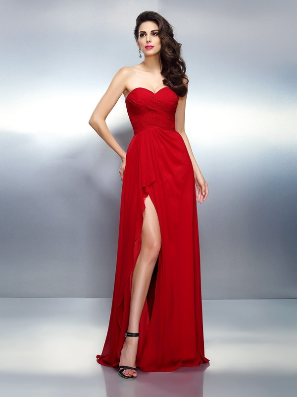 Chiffon Sweetheart Floor-Length Red Prom Dresses
