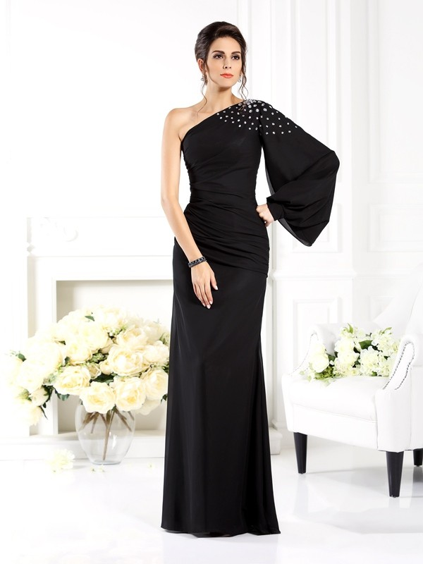 Long Sleeves One-Shoulder Floor-Length Black Prom Dresses with Beading