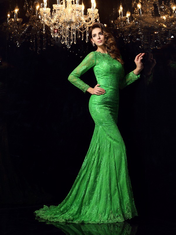 Mermaid Elastic Woven Satin High Neck Court Train Prom Dresses with Applique