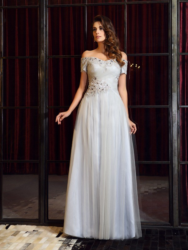 Off-the-Shoulder Floor-Length Silver Prom Dresses with Beading
