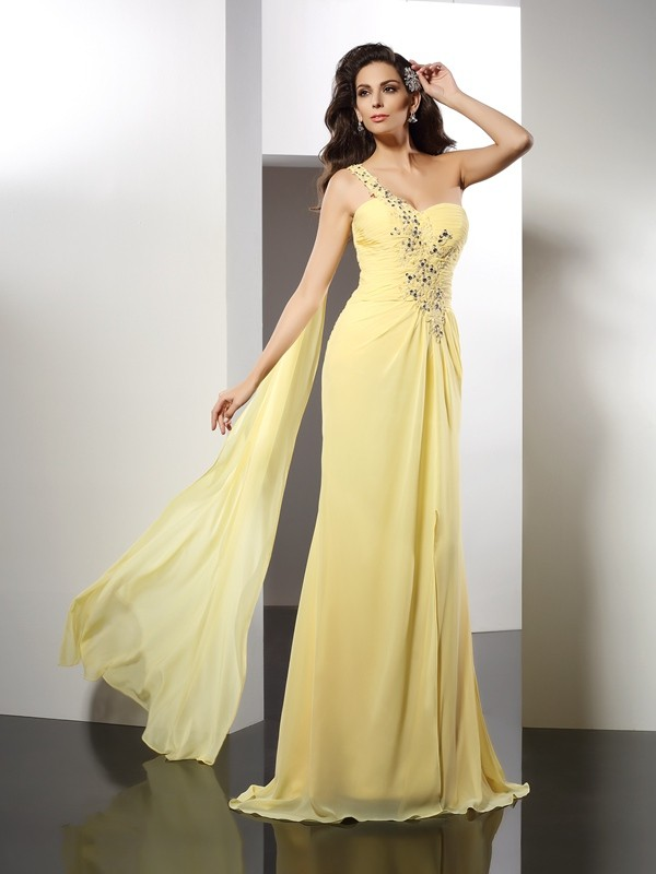 Floor-Length Daffodil One-Shoulder Prom Dresses with Beading