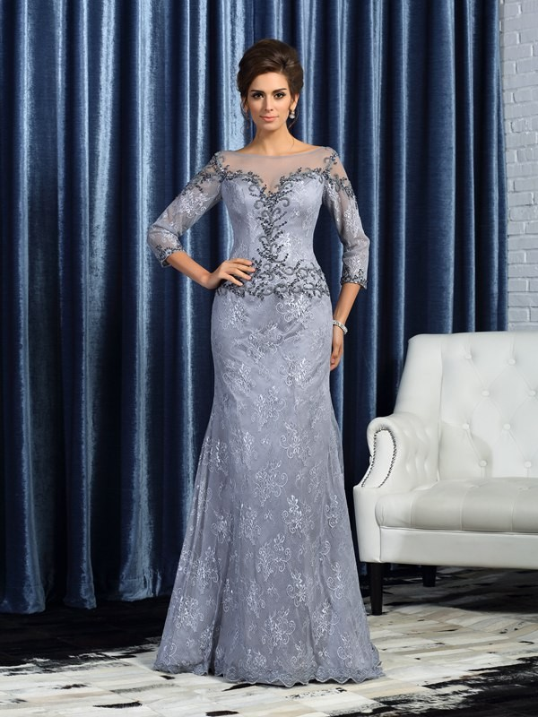 Mermaid Bateau Brush Train Grey Mother of the Bride Dresses with Beading