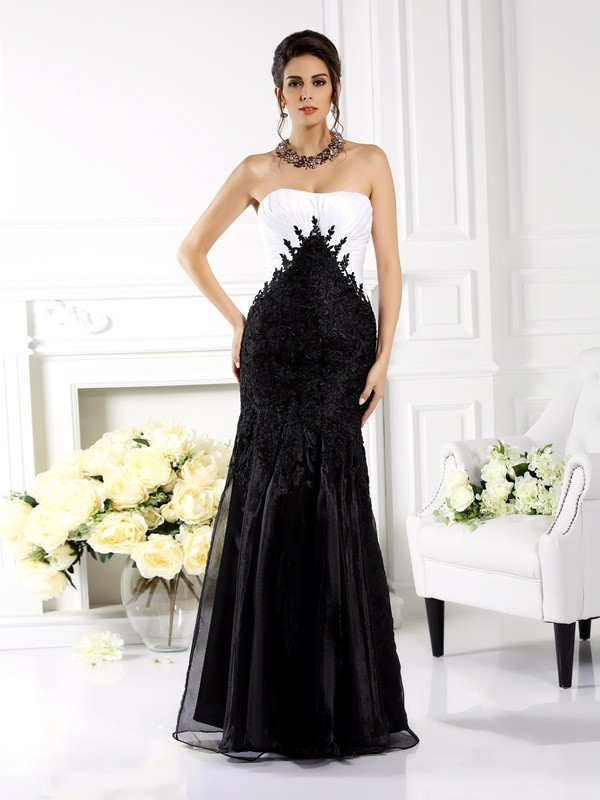 Mermaid Strapless Floor-Length Black Prom Dresses