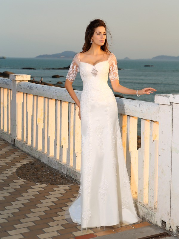 Ivory Sweetheart Satin Floor-Length Wedding Dresses
