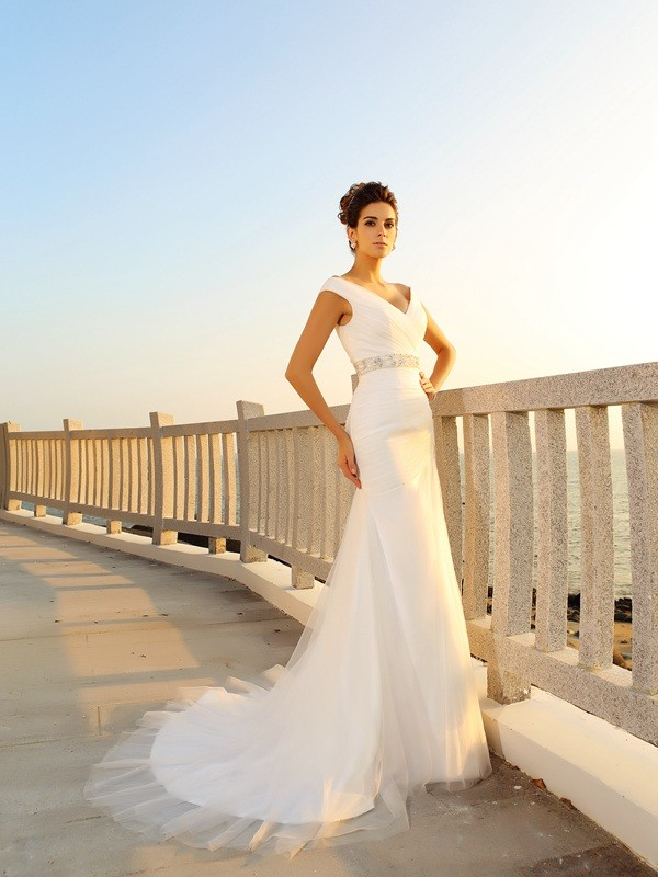 Net V-neck Court Train Ivory Wedding Dresses