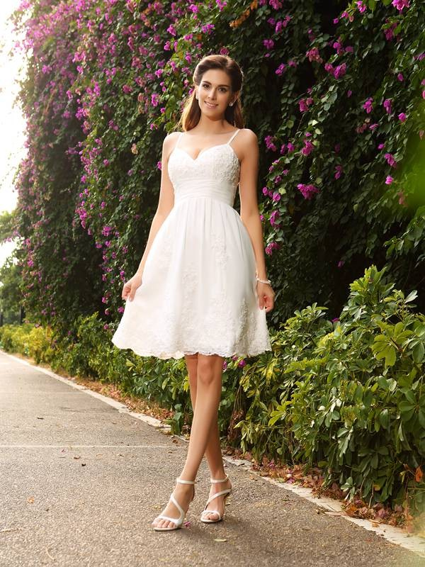 A-Line Lace Spaghetti Straps Knee-Length Ivory Wedding Dresses
