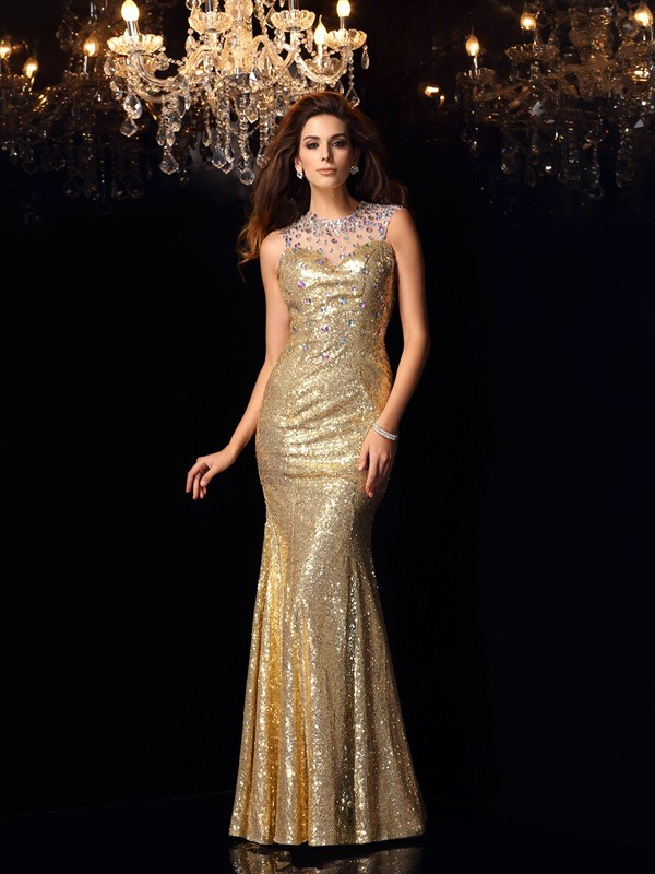 Sequins High Neck Floor-Length Gold Prom Dresses