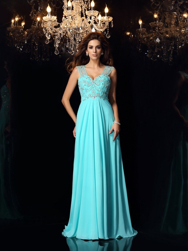 Brush Train Blue Sweetheart Prom Dresses with Beading