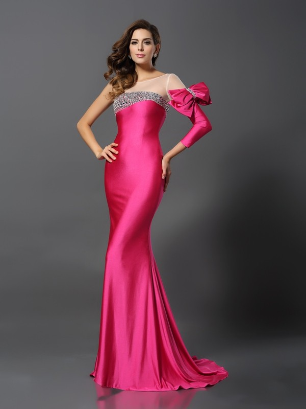 Long Sleeves Bateau Brush Train Fuchsia Prom Dresses with Bowknot