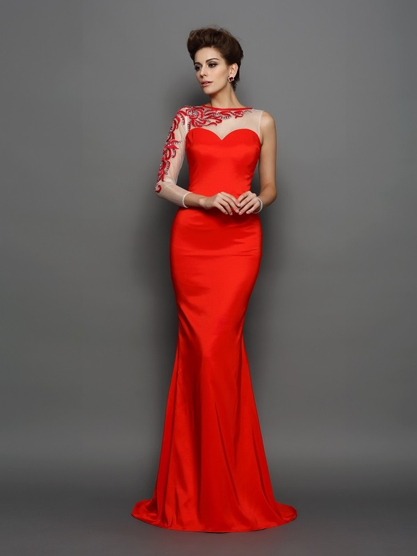 Mermaid High Neck Court Train Red Prom Dresses with Embroidery