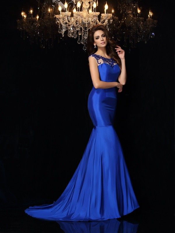 Royal Blue Bateau Taffeta Court Train Prom Dresses