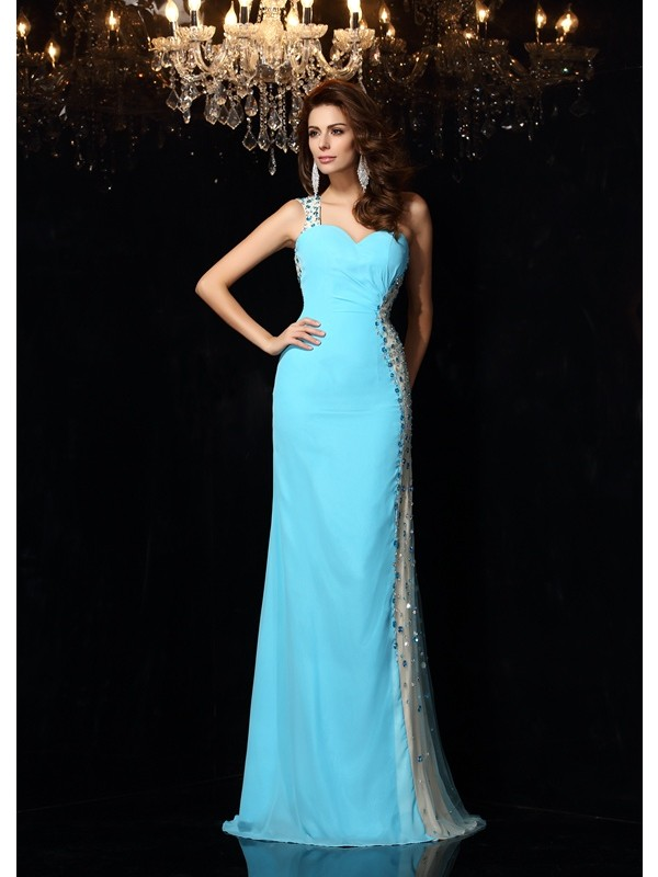 Sheath One-Shoulder Floor-Length Blue Prom Dresses with Rhinestone