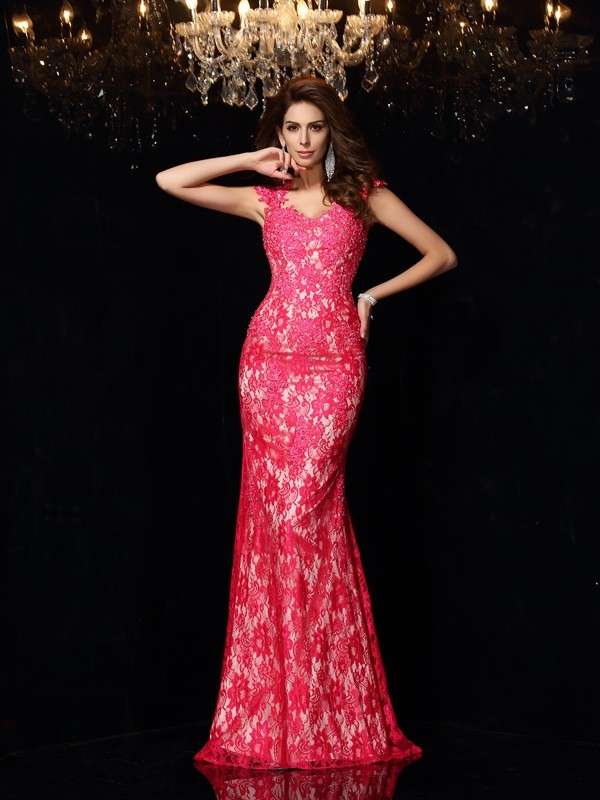 Sheath V-neck Floor-Length Fuchsia Prom Dresses