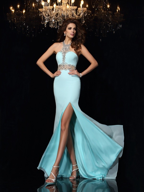 Chiffon High Neck Brush Train Blue Prom Dresses