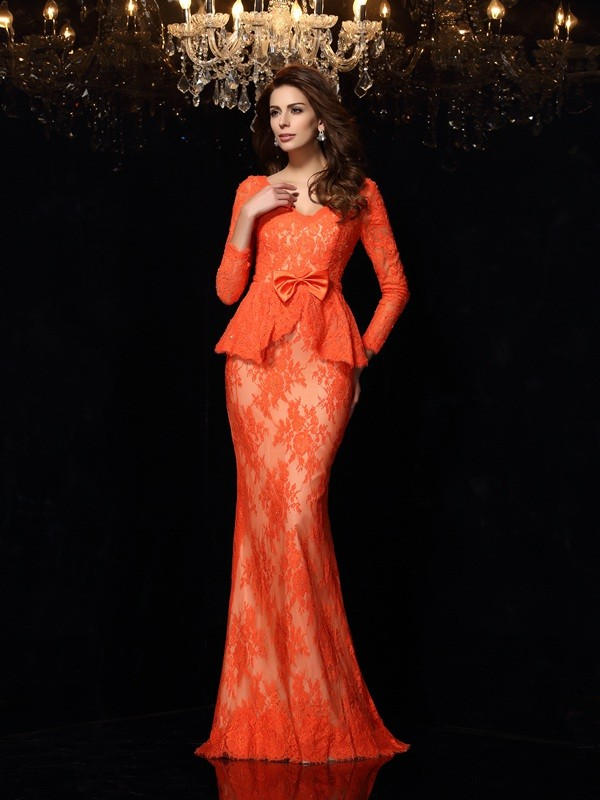 Lace Sheath Brush Train Long Sleeves V-neck Orange Prom Dresses