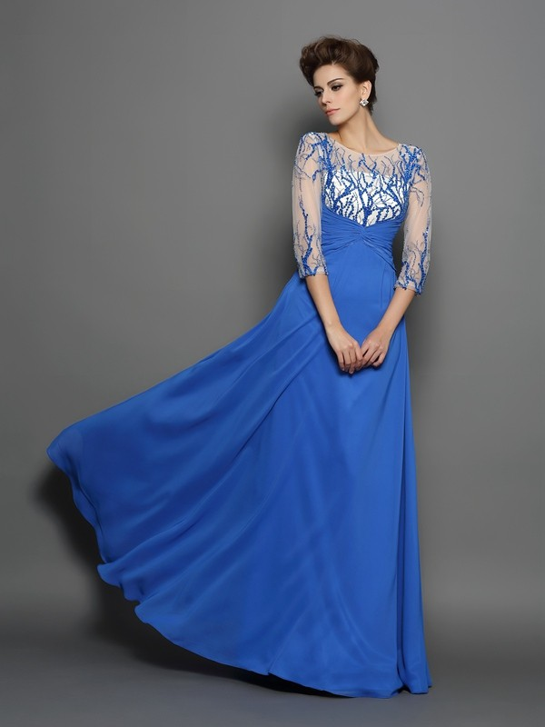Royal Blue A-Line Scoop Floor-Length Prom Dresses with Applique