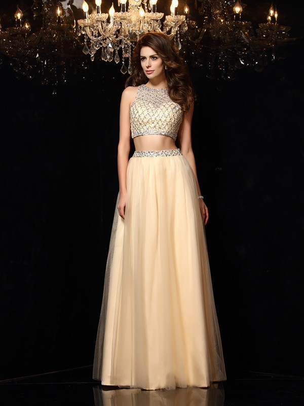 Net A-Line Floor-Length High Neck Champagne Prom Dresses