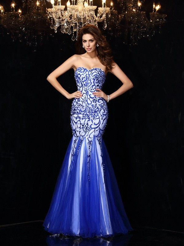 Royal Blue Sweetheart Net Floor-Length Prom Dresses