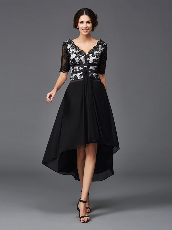A-Line V-neck Asymmetrical Black Homecoming Dresses with Lace