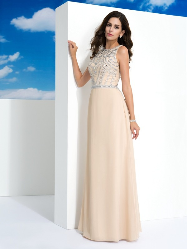 Champagne A-Line Scoop Floor-Length Prom Dresses with Beading